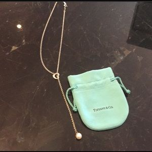Tiffany Necklace Open Heart Lariat with pearl